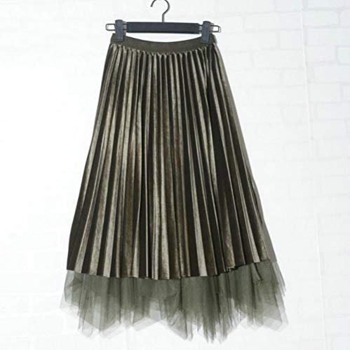 MU-PPX Faldas De Tul para Mujer Falda Larga para Mujer Faldas Plisadas De Cintura Alta Faldas Largas De Retazos para Mujer,Ejército Verde, One Size