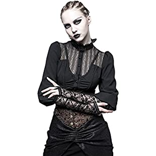Punk Rave Women Shirts Gothic Steampunk Long Sleeve Lace Decoration Retro Blouse Shirt Chiffon Clothing Ladies Tops:Whiteox