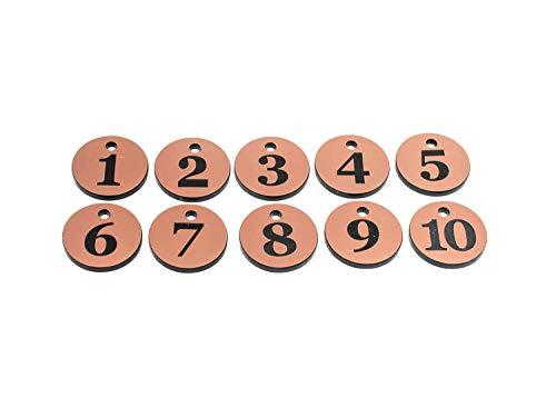 Llaveros Originales diseñados, Etiquetas para Llaves, llaveros, numerados 1 a 10 – Números Circulares de Cobre Grabados, para hoteles, guesmiles, B&B, corporativos