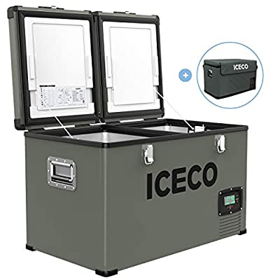 ICECO VL60 Dual Zone Portable Refrigerator with SECOP Compressor, 60 Liters Platinum Compact Refrigerator, DC 12/24V, AC 110-240V, 0? to 50?, Home & Car Use (with Insulated Cover)