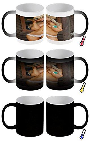 Zaubertasse Farbwechseltasse Kaffeebecher Tasse Becher Latte Cappuccino Espresso Pin Up Erotik Cowboyhut