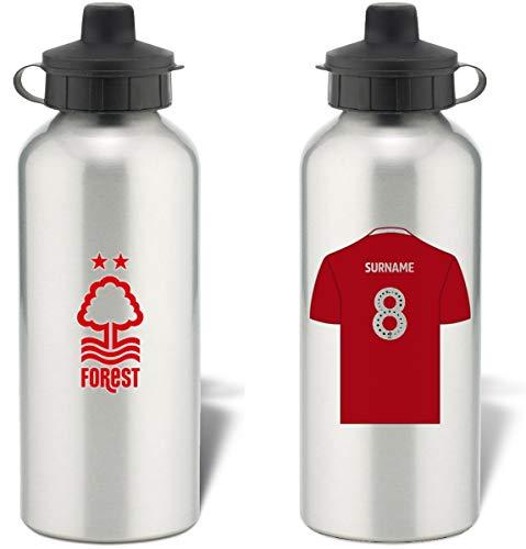 Personalised Nottingham Forest FC Shirt Aluminium Sports Water Bottle - Silver Bottle