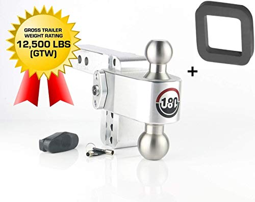 """B&W Tow & Stow, 2"""" Silencer Pad+Weigh Safe 180 Hitch LTB4-2 4"""" Drop Hitch, 2"""" Receiver 12,500 LBS GTW - Adjustable Aluminum Trailer Hitch Ball Mount & Stainless Steel Combo Ball, Dual Pin Keyed Lock"""