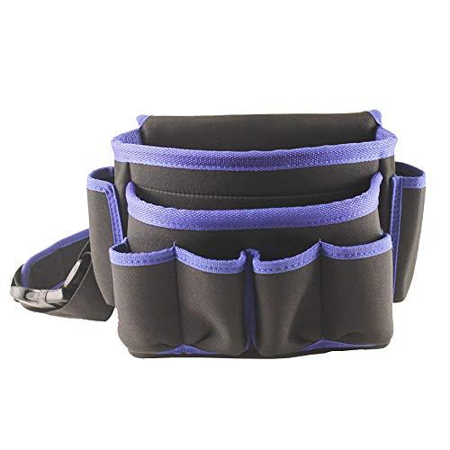 Nvshiyk Multi Pocket Tool Organizer Electrician Multifunctional Tool Repair Bag Hardware Tool Bag Waist Tool Storage Bag for Electricians (Color : Blue, Size : 32.5x17.5x22.5cm)
