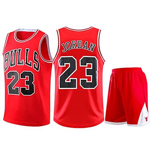 QJJ Jerseys de baloncesto retro de Michael Jordan, de los Chicago Bulls #23 para uniformes de baloncesto, camisetas de verano y pantalones cortos, 1 juego rojo-L