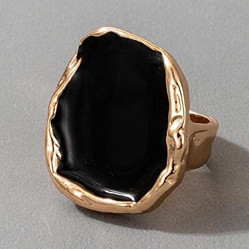DOOLY Anillo de Oro de Piedra Negra Bohemia para Mujeres Hombres encantos de Goteo Aceite Grande Ring Gothic Jewelry Accesorios