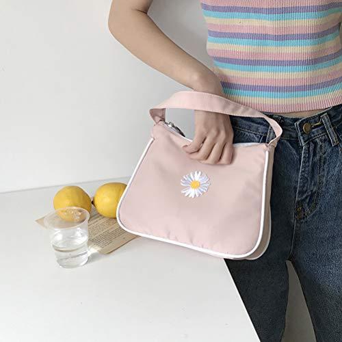 1 bolsa para las axilas, bolsa retro pequeña margarita, bolso cuadrado, bolsa de lona para las axilas, bolsa para mujer, margarita, con cremallera, media luna, para mujeres y niñas. Color rosa