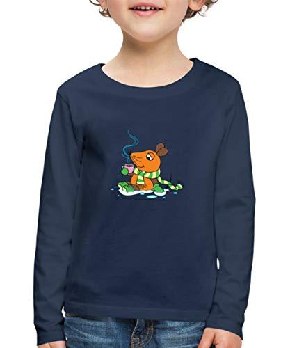 Sendung Mit Der Maus Winter Ist Kakaozeit Kinder Premium Langarmshirt, 122-128, Navy