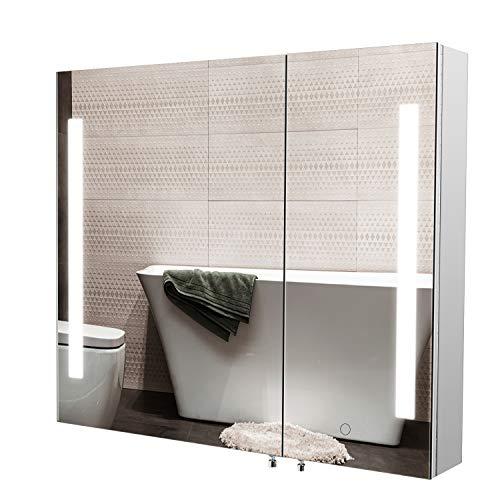 Homfa LED Spiegelschrank Bad Edelstahl Badezimmerspiegel Badspiegel Lichspiegel Wandschrank mit Beleuchtung Berührung Sensorschalter 76x66x13cm