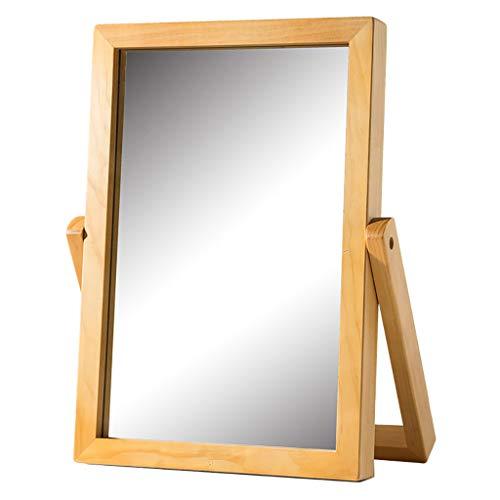 Miroir de maquillage- Miroir De Maquillage De Bureau Miroir Européen Simple Miroir De Coiffure En Bois Massif Portable Miroir De Bureau En Bois Miroir De Bureau Pliable HD Beauté