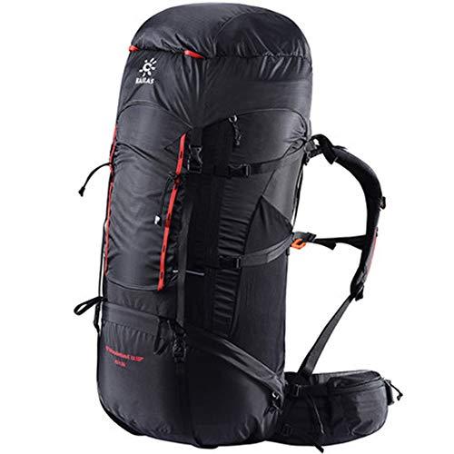 SKMYTE Wanderrucksack Faltbare Camping Rucksack 70L große Kapazität wasserdicht und verschleißfest mehrere Fächer super tragfähigen Bergsteigen Abenteuer Skifahren-black-65+10L