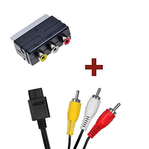 PSBasics AV-Kabel + Scart-Adapter für Nintendo 64 Super Nintendo Gamecube N64 SNES GC