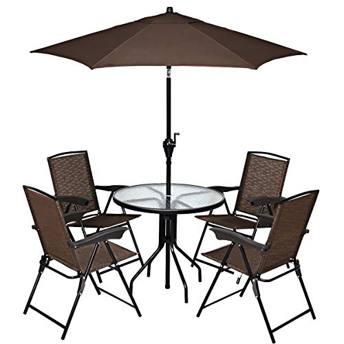 Goplus Bistro Set Patio Table 4 Sling Chairs & Umbrella Commercial Party Event Furniture Conversation Coffee Table for Backyard Lawn Balcony Pool, 6PCS (4 Sling Chairs+Umbrella+Upgraded Table)