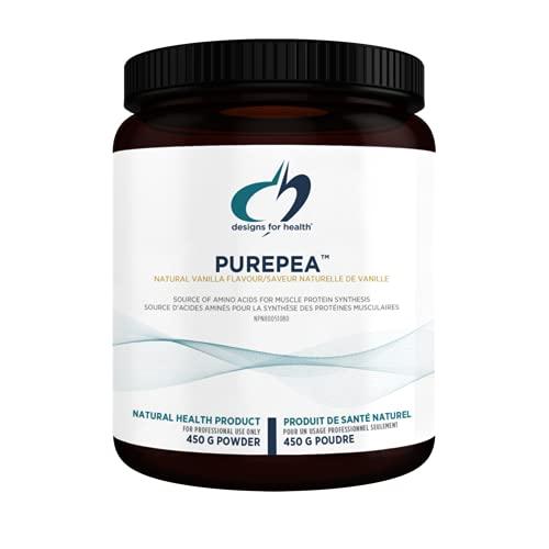 Designs for Health PurePea - 20g Vegan Pea Protein, Non-GMO Drink Mix Protein Powder Supplement, Vanilla (15 Servings / 450g)