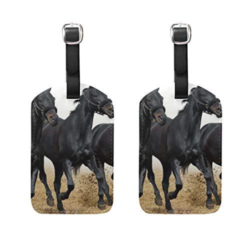 2 Etiquetas de Viaje para Equipaje con diseño de Caballos Corredores Negros para Llevar en el Equipaje o en el Equipaje