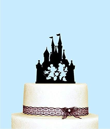 Disney Castle Tortenaufsatz Mickey und Minnie Silhouette Tortenaufsatz für Hochzeit