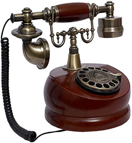 AWAING Telefonos Antiguos Vintage Teléfono Vintage/teléfono Retro con Cuerpo de Madera y Metal, dial Giratorio Funcional y Campana de Metal clásica