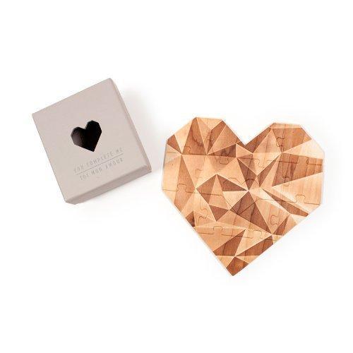 You Complete Me - Puzzle romantico in legno a forma di cuore con messaggio personale, idea regalo per San Valentino - Grigio