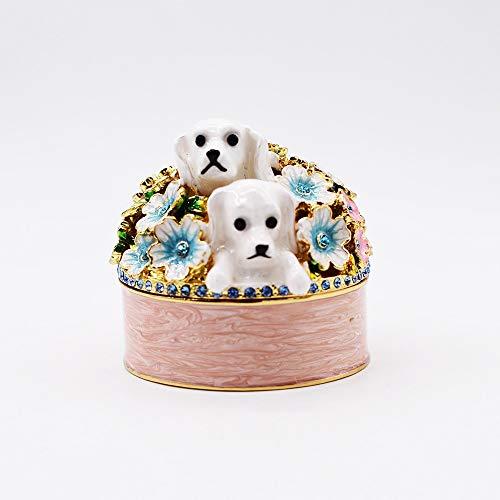 KK Zachary Caja de almacenamiento de anillo esmaltada para decoración de habitación, 6 x 4 cm