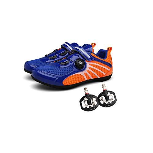 GMZS Zapatillas De Montar En Bicicleta De Carretera, para Hombres, Mujeres, Zapatos De Montar, Zapatos Giratorios, Hebilla, Transpirable, con Pedal De Bicicletas,45