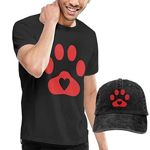 Henrnt T Shirt Herren, Red Heart Cute Dog Paw T Shirts Short Sleeve Denim Hat