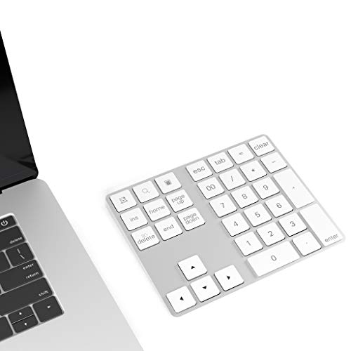 Cateck Bluetooth Numeric Keypad with Multiple Shortcuts 34-Keys Number Pad wireless portable slim Number Pad for iPad/Mac/Laptop/PC Compatible with Windows Android iOS System
