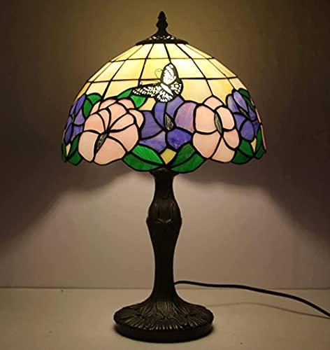 CCHAYE Tiffany Style Lámpara de Mesa 18 vitrales de Altura Rosa púrpura Floral Floral Loto Mariposa antigüedad Vintage luz decoración de Noche Dormitorio Sala de Estar Hecho a Mano Regalo Improve