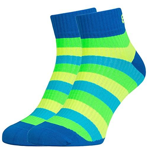 Eleven Kompressionsstrümpfe | Kompressionssocken | Laufsocken | Compression Socks | Strümpfe | Thrombosestrümpfe | Damen | Herren zum Sport, Laufen, Flug, Reise (Luca Stripe, M-L (EU 40-44))