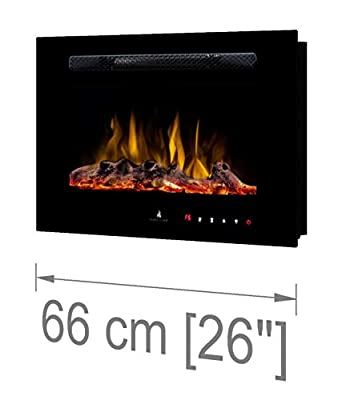 """Noble Flame Paris 660 (66 cm / 26"""") - Electric Fireplace Wall Fireplace Fire Chimney - Wall Mount Remote Control - 14,5 cm Installation Depth - Black"""