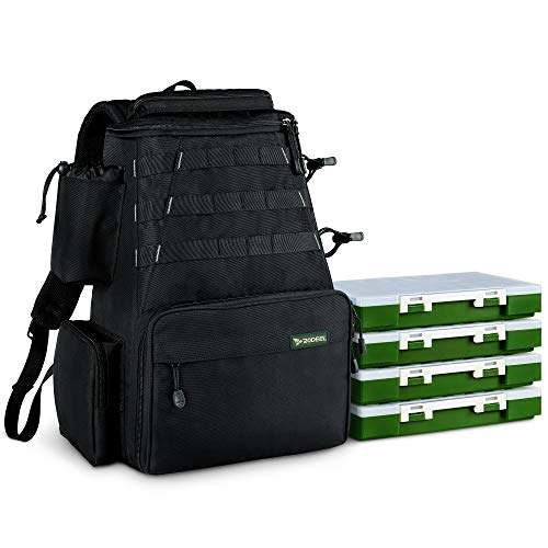 Rodeel Fishing Tackle Backpack 2 Fishing Rod Holders with 4 Tackle Boxes, Large Storage,Backpack for Trout Fishing Outdoor Sports...