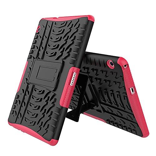 GUOQING Funda para tablet y PC, funda para tablet Huawei Mediapad T3 de 10 pulgadas, textura de neumáticos a prueba de golpes, TPU y PC con soporte plegable para asa (color rosa rojo)