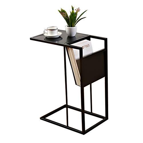 ZHIRONG Table d'appoint de canapé/table en forme de C/support pour ordinateur portable/bureau de bout en bout/plateau à café/table d'appoint, L48 × W30 × H65CM (Couleur : NOIR)
