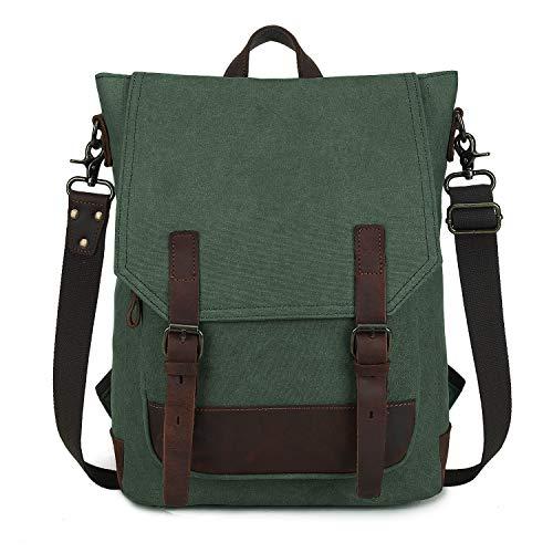 Wind Took Canvas Rucksack Schultertasche Daypack Umhängetasche Messenger Bag Handtasche für Uni Alltag Job 14 Zoll Multifunktional Retro, Grün, 28 x 11 x 40 cm