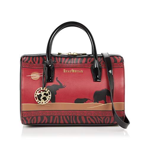 Shagwear Damen Handtasche Trendy Mehrfarbig Umhängetasche Henkeltasche (Elefant/Elephant Safari)