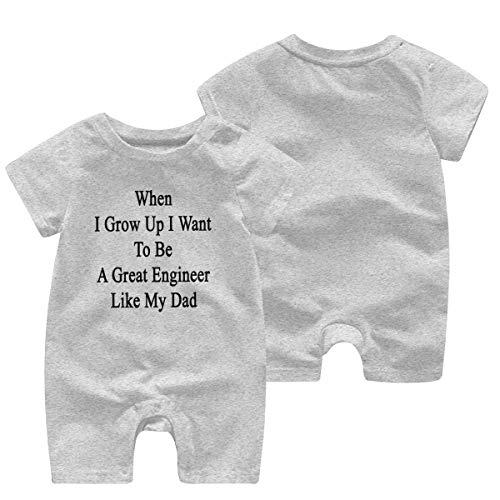 Cuando Sea Grande Quiero ser un Gran Ingeniero como mi papá Ropa de bebé Escalada de Manga Corta Mono Mono Lindo Mameluco para niños pequeños 3-6 Meses