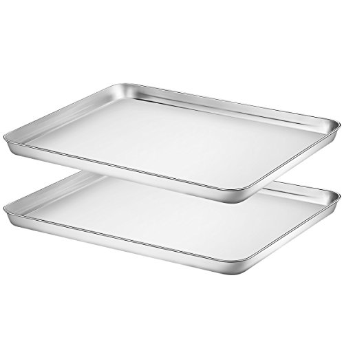 Baking Sheet Set of two, HKJ Chef Stainless Steel Cookie Sheet Set 2 Pieces Toaster Oven Tray Pan Non Toxic ,Healthy Easy Clean