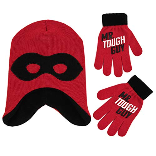 Disney Boys' Little Incredibles 2 Hat and Gloves Cold Weather Set, red/Black, Age 4-7