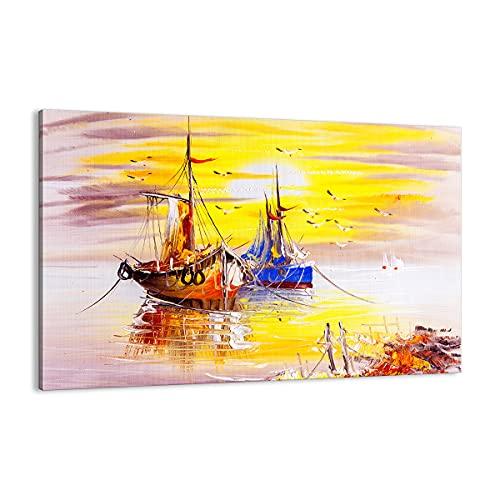 Cuadro sobre lienzo - Impresión de Imagen - Barcos Sol mar viajes - 120x80cm - Imagen Impresión - Cuadros Decoracion - Impresión en lienzo - Cuadros Modernos - Lienzo Decorativo - AA120x80-2882