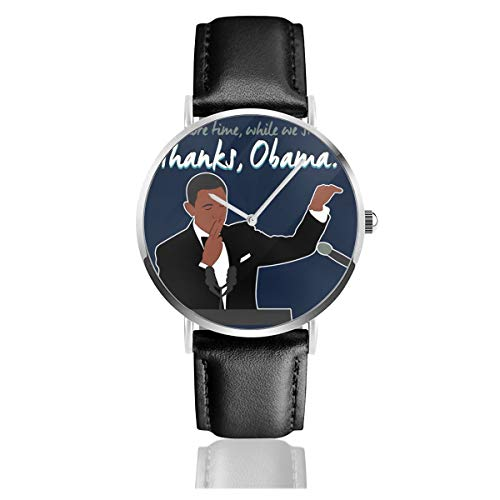Unisex Business Casual One More Time Thank President Obama Uhren Quarzuhr Lederband schwarz für Männer Frauen Young Collection Geschenk