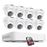 ZOSI 5MP DVR Kit de Cámaras Seguridad Sistema Vigilancia (8CH 2k+ Videograbador + 8 * Cámara Exterior + 2TB Disco Duro), Visión Nocturna, Alarma de Movimiento