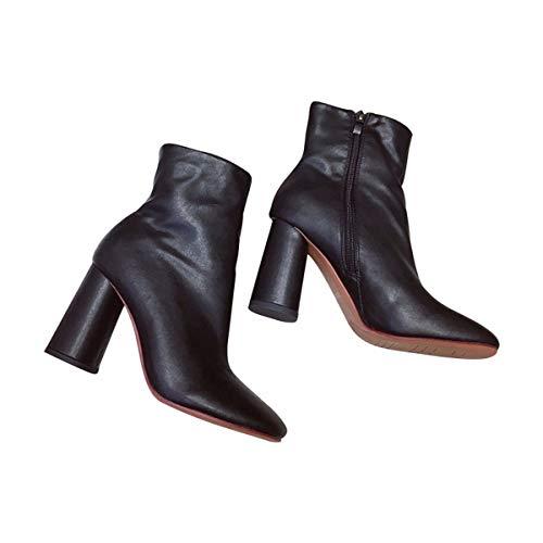 AJUNR Modische/Arbeit/Damenschuhe Retro Kurze Stiefel mit hohen 8cm starken Kopf einfache Freizeit Mode dünn Mode Flut 39 schwarz