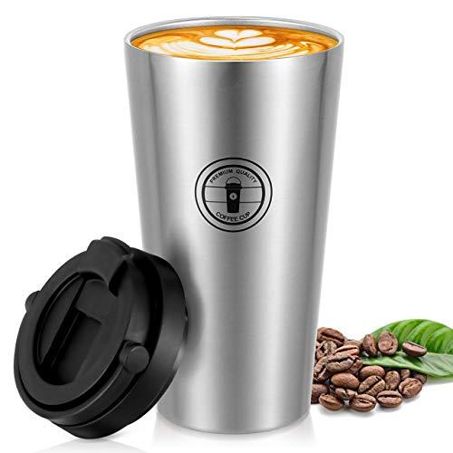 Gifort Kaffeebecher aus Edelstahl, Isolierbecher Doppelwandig mit Vakuumisolierung, Rostfrei 100% Auslaufsicher Wiederverwandbar