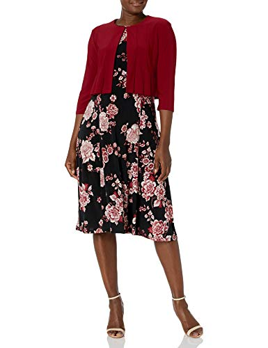 Danny and Nicole Danny & Nicole Women's ITY Solid & Floral Print Jacket Dress, Garnet/Black/Ivory, 14-15