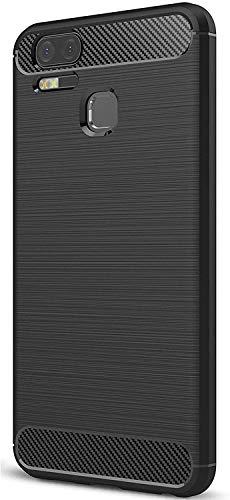 kompatibel für ASUS ZENFONE Zoom S ZE553KL Z01HDA Z01HD (5.5) Hülle Case Cover Case Gel Silikon Ultra Soft Slim Carbon Fiber stoßfest MORBIDA TPU (Schwarz)