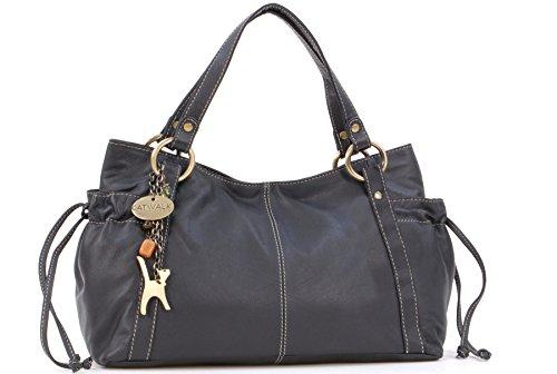 Catwalk Collection Handbags - Leder - Umhängetasche/Ledertragetasche/Schultertasche - MIA - Schwarz
