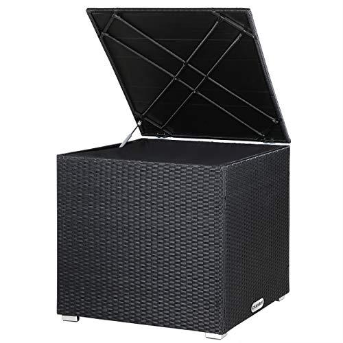 Casaria Poly Rattan XXL Auflagenbox 318 l Innentasche mit Reißverschluss Gasdruckfeder Wetterfest 75x75x70 cm Garten - Schwarz