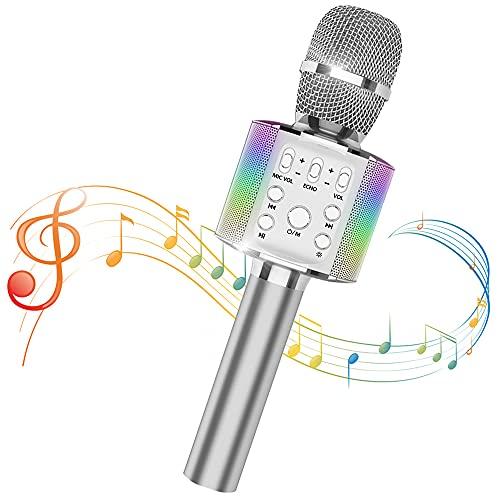 Sky Stone Bluetooth Karaoke Microphone, High Sound Quality, Wireless Microphone, Portable Speaker, Duet, Recordable, Karaoke, Noise Canceling, Karaoke Device, LED Light, 3200 mAh, Home Use, Karaoke, Party, Japanese Instruction Manual (Silver)