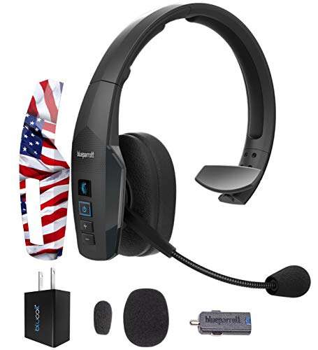 BlueParrott B450-XT Noise Canceling Bluetooth Headset with 300-FT Wireless Range for iOS and Android Bundle with MightySkins Removable Decal Sticker (Patriot), and Blucoil USB Wall Adapter
