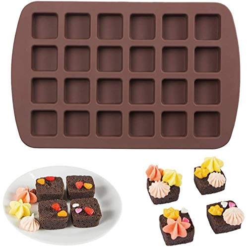 Webake Mini Brownie Pan Square Silicone Baking Mold for Keto Fat Bomb, Chocolate, Peanut Butter, Blondie