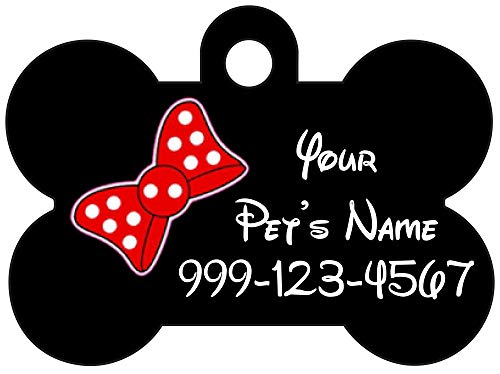 Cute Minnie Bow Pet Id Dog Tag Personalized for Your Pet
